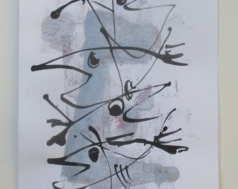 Fishes - Original Drawing with colored Ink and Bambu-Stick - free shiping blue 8,27 x 5,51i