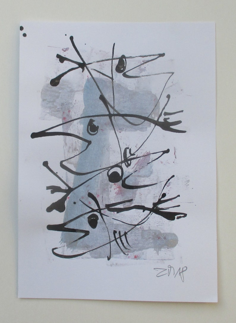 Fishes  Original Drawing with colored Ink and Bambu-Stick  image 0