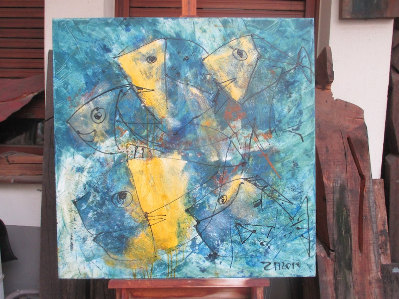 wild crazy fishes  blue and yellow hollidayfeeling xl painting image 1