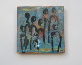 little blue people - Original-Drawing on Canvas