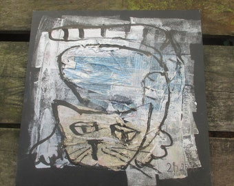 Funny Cat  Collage / black Canvas / Drawing 15,74 x 15,74 inch