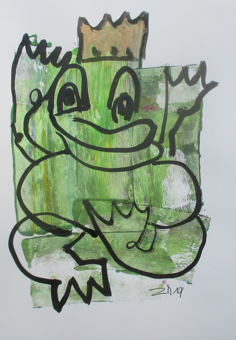 expressive king of frogs  Original Drawing with colored Ink image 0