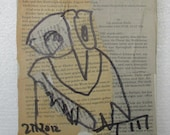 Owl Original Drawing on Collage / Canvas / art mixed media - inch 5,91x5,91x0,79