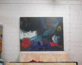 blue. xl-painting on Canvas, Original Drawing by Sonja Zeltner-Müller
