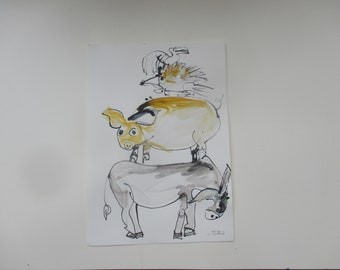 crazy animals  - Drawing 11,81 x 8,27 inch minimalism fether-drawing aquarelle free shipping blue white