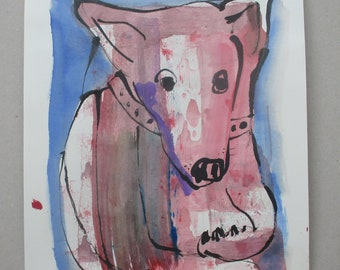 Dog - Drawing 11,81 x 8,27 inch minimalism fether-drawing aquarelle free shipping  blue