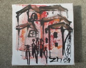 Italy Original Drawing on Collage / Canvas / art mixed media - inch 5,91x5,91x0,79