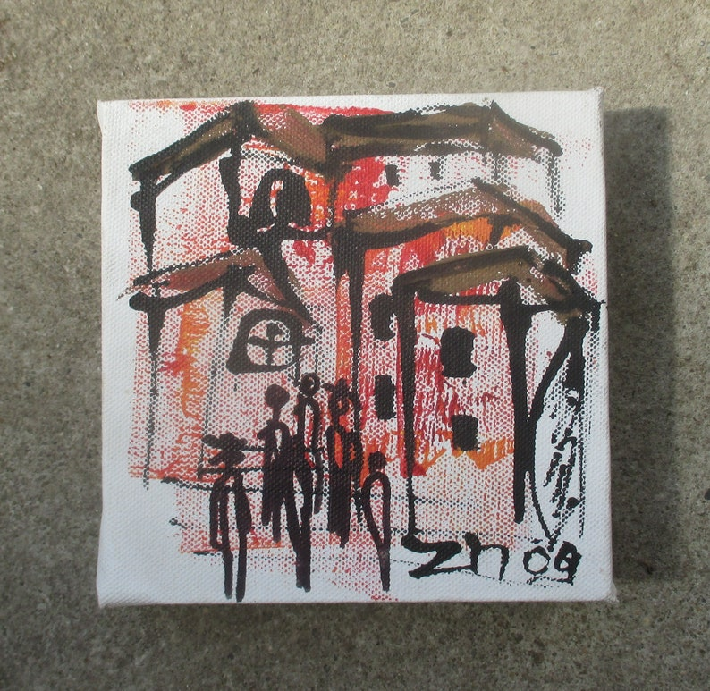 Italy Original Drawing on Collage / Canvas / art mixed media  image 0
