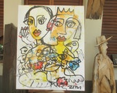 girls with cat Original, Drawing, Collage, stretched Canvas, mixed media, redblack, acrylicpouring, modern painting,