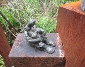 Sculpture Bronze little girl 1from7 Modern Art free shiping - grey green patina
