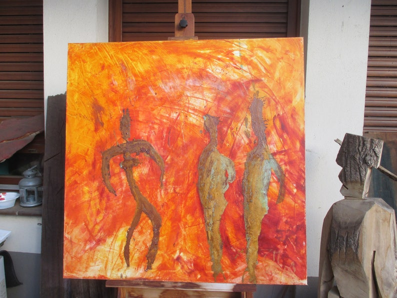 abstract orange dancer painting  fire unique expressive image 0
