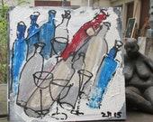 wine bottles party citchenart / black Canvas / Drawing 15,74 x 15,74 inch