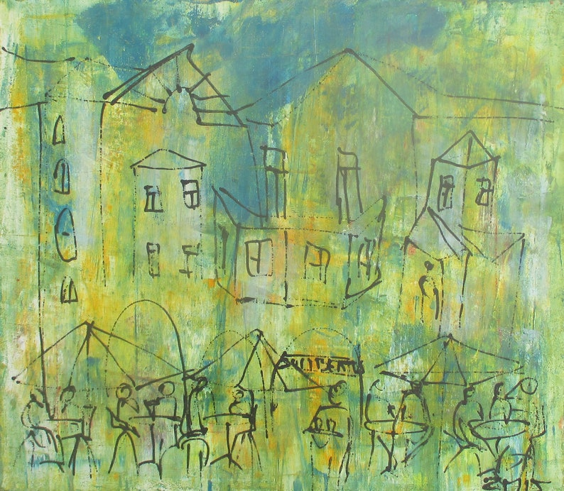 green streetcafe Original Drawing Oil /  Canvas / art free image 0