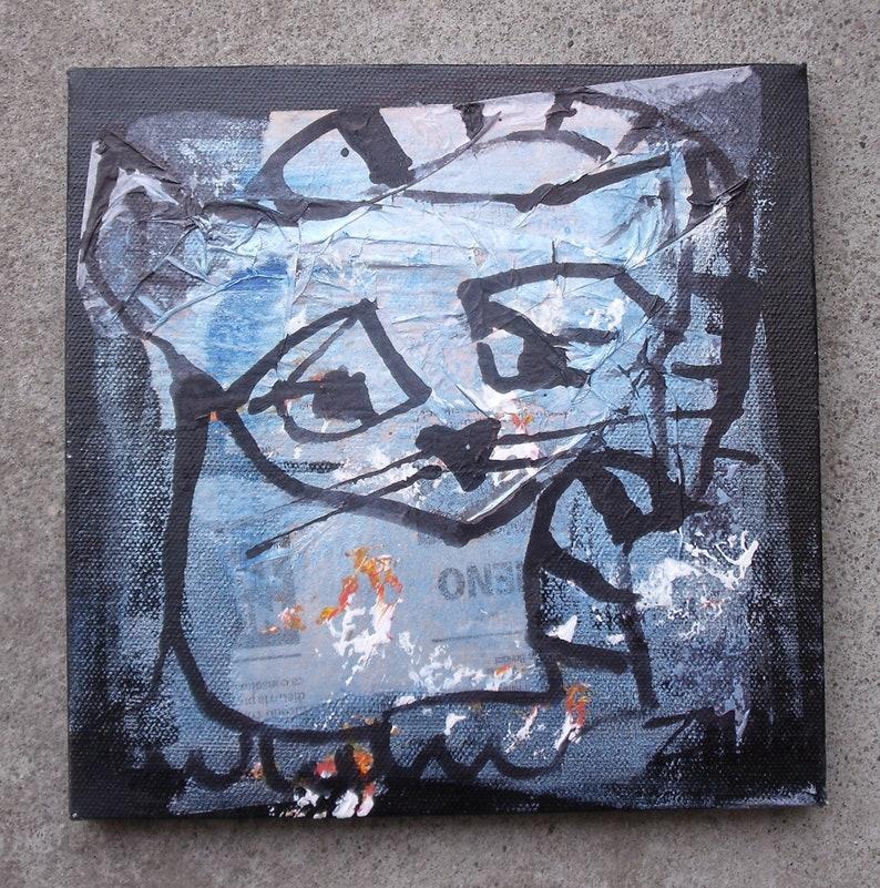 cat / black Original-Drawing on Canvas / Art mixed media image 0