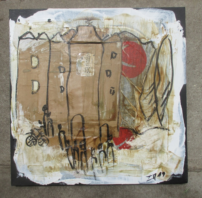 Coffee Town landscape Italy   Collage / black Canvas / Drawing image 0