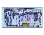 Landscape Original Drawing on Canvas / Acryl black green yellow - free shiping 7,87 x 3,93 inch