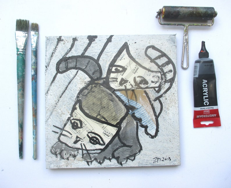 Cats on mixed media collage Canvas / Drawing image 0
