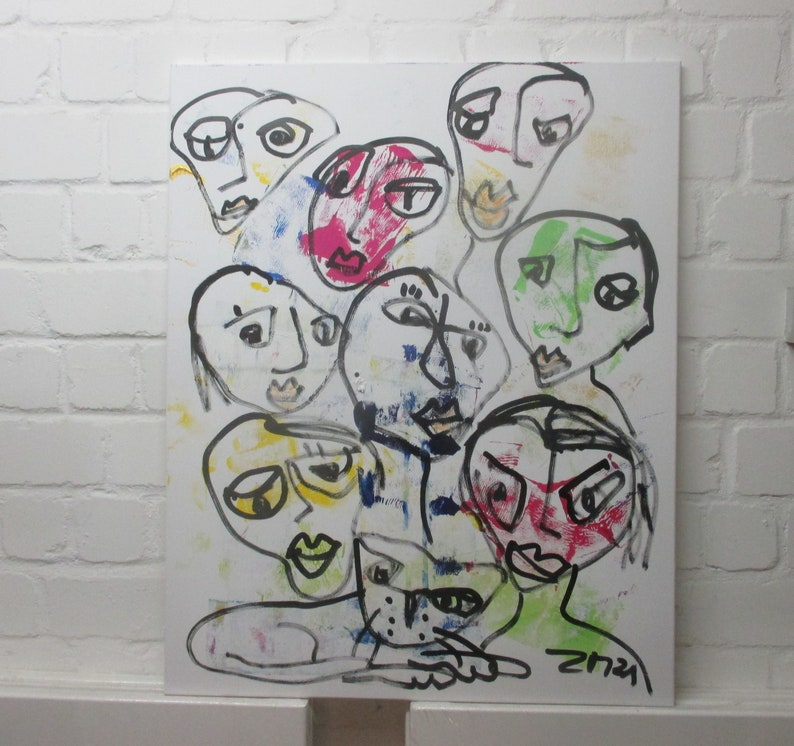 People Original Drawing Oil /  Canvas / art round canvas 355 image 0