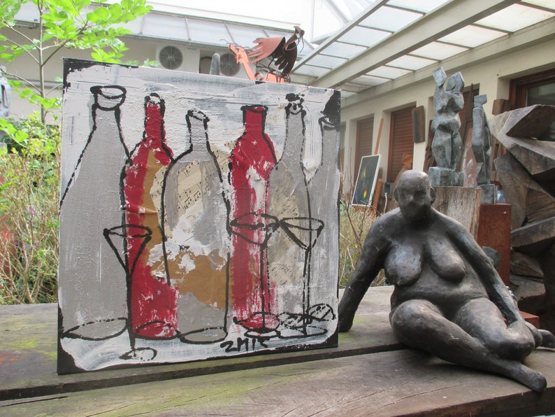 wine bottles party citchenart / black Canvas / Drawing 1574 x image 0