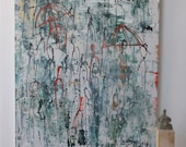 abstract urban people , Original, Drawing, Collage, stretched Canvas, mixed media, redblack, acrylicpouring, modern painting,