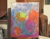 flowerpower mixedmedia Original Drawing Oil / Canvas / art free shiping xl 27,56 x 39,37 inch