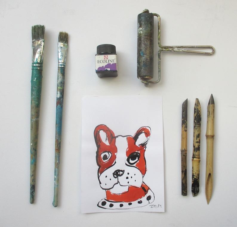 french Bulli  Original Drawing animal sketch ink Gouache image 0