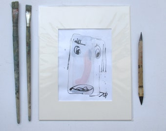 expressive Lady Portrait - Original Drawing with colored Ink and Bambu-Stick - free shiping yellow purple 8,27 x 5,51i