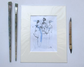 Ladies - people - Original Drawing with colored Ink and Bambu-Stick - free shiping yellow purple 8,27 x 5,51i