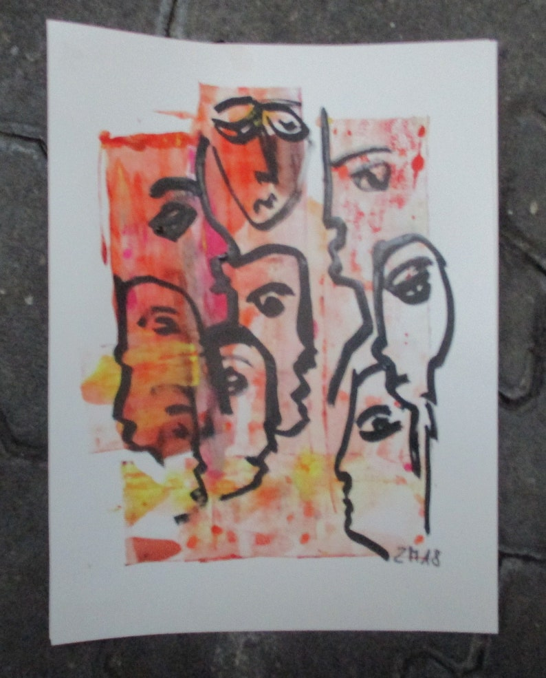 communication in red talking heads Original Drawing with image 0