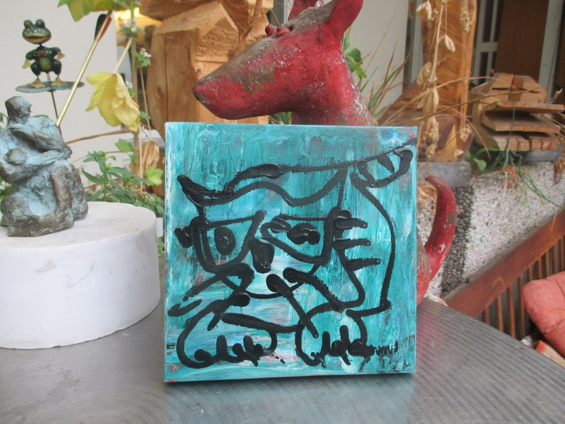 little expressive cat   Original-Drawing on Canvas  image 0