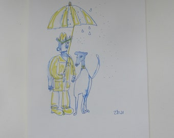 doglover  - Drawing 11,81 x 8,27 inch minimalism fether-drawing aquarelle free shipping blue white