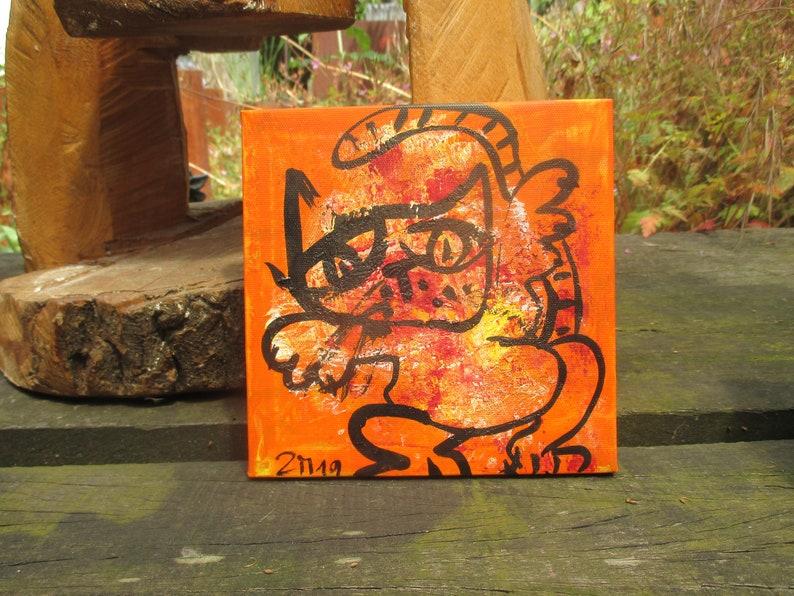 orange crazy cat Original-Drawing on Canvas  image 1