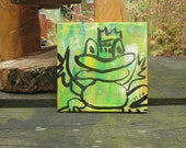 little frog - king of frogs Original-Drawing on Canvas