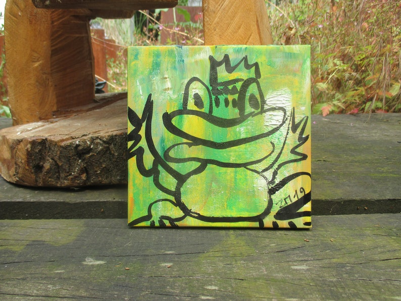 little frog  king of frogs  Original-Drawing on Canvas  image 0