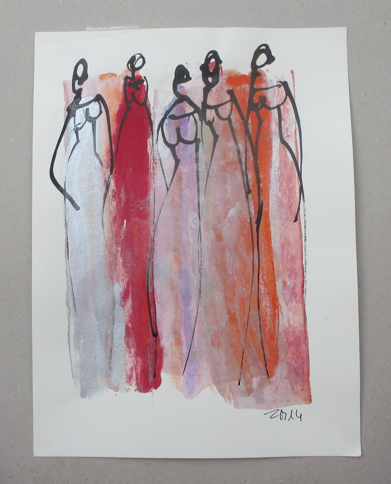 fashion girls  Original Drawing with colored Ink and image 0