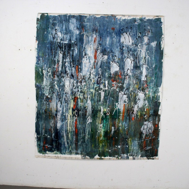 green and blue abstract people xxl painting on canvas rolled image 0