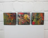 abstract colorpower , Original, Drawing, Collage, stretched Canvas, mixed media, redblack, acrylicpouring, modern painting,