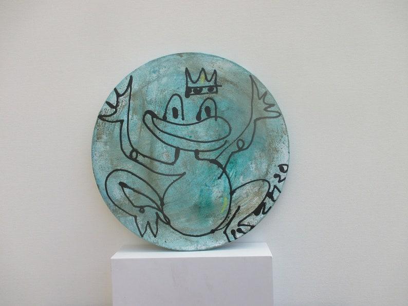 Frog-prince Original Drawing on round Canvas / art acryl free image 0