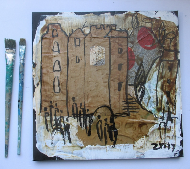 little town mixedmedia collage with coffee and acryl Canvas / image 0