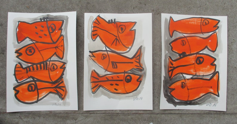 3 expressive red fishes  Original Drawing with colored Ink image 0