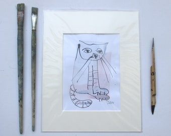 expressive cat - Original Drawing with colored Ink and Bambu-Stick - free shiping yellow purple 8,27 x 5,51i