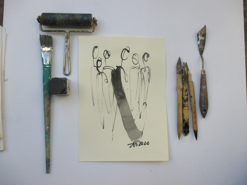 people  Original Drawing with colored Ink and Bambu-Stic 181 image 0