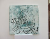 green cat Canvas / Drawing 15,74 x 15,74 inch