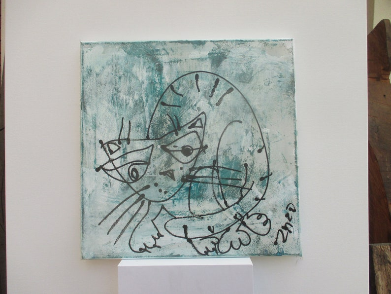 green cat  Canvas / Drawing 1574 x 1574 inch image 0