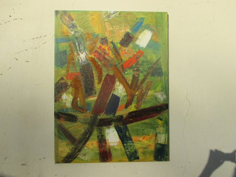 abstract blue with rust and gold Original Drawing Oil / image 1