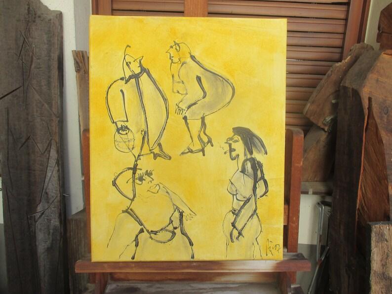 yellow girls urban streetlife Canvas / Drawing 1974 x 1574 image 0