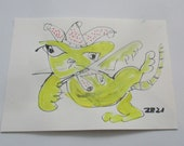 expressive clown cat - Original Drawing with colored Ink and Bambu-Stick - free shiping 11,81 x 8,27 inc pink gold landscape