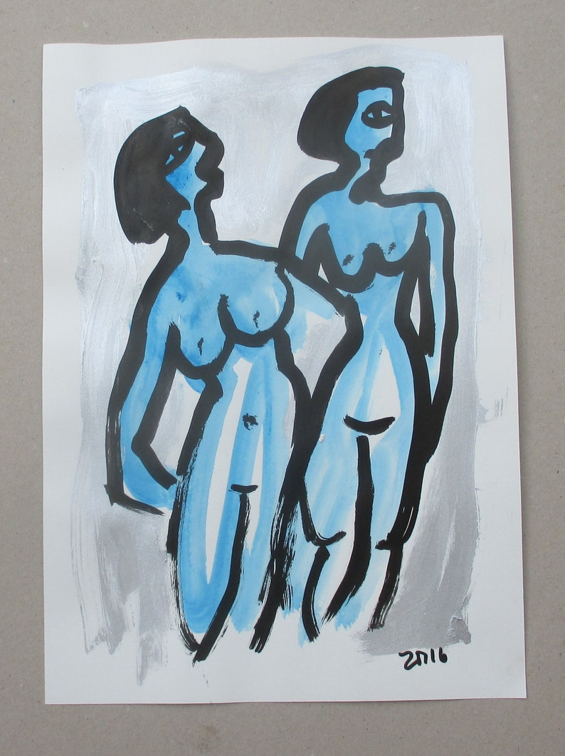 expressive Nudes  Original Drawing with colored Ink and image 0