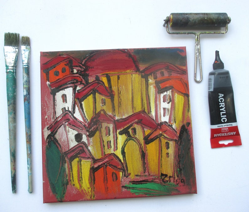Toscana Acryl/Sand / red Canvas / Drawing image 0
