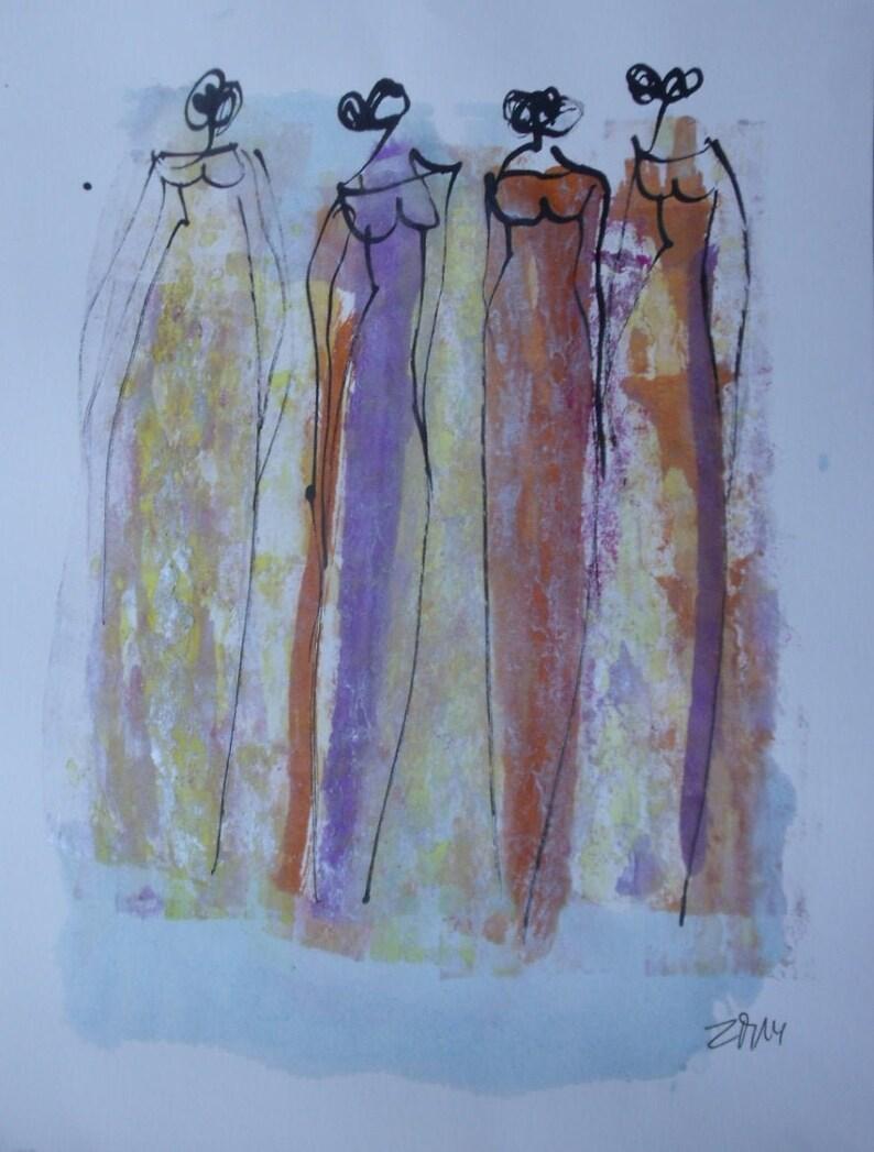 abstract elegant girls expressive coffee Original Drawing Ink image 0